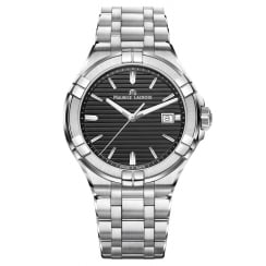 Gents Black Dial Brushed Stainless Steel Bracelet Date Watch