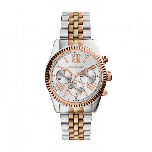 Michael Kors Watches Lexington Three-Tone Gold & Stainless Steel Ladies Watch