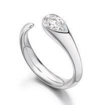0.70ct Pear Cut Diamond Solitaire Engagement Ring In Platinum