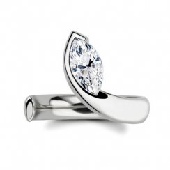 0.75ct Marquise Cut Diamond Solitaire Engagement Ring In Platinum