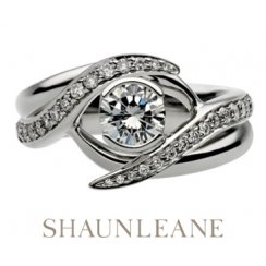 0.50ct Interlocking Engagement & Wedding Ring In 18ct White Gold