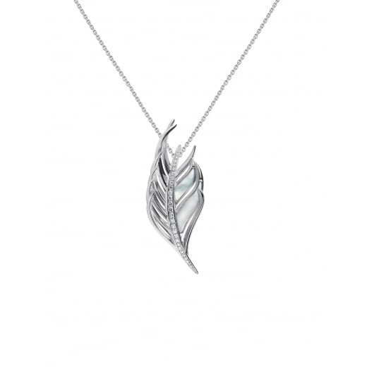 Shaun Leane Diamond and Mother of Pearl White Feather Pendant