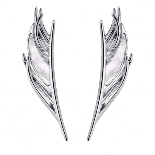 Shaun Leane Mother of Pearl White Feather Drop Earrings