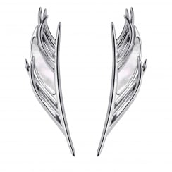 Mother of Pearl White Feather Drop Earrings