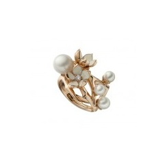 Rose Gold Vermeil Cherry Blossom Ring with Diamonds & White Pearl