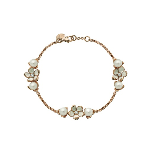 Shaun Leane Rose Gold Vermeil Three Flower Bracelet with Diamonds & Pearls