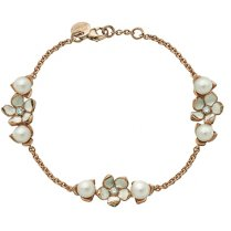 Rose Gold Vermeil Three Flower Bracelet with Diamonds & Pearls