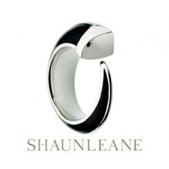 Silver & Black Enamel Signature Tusk ring