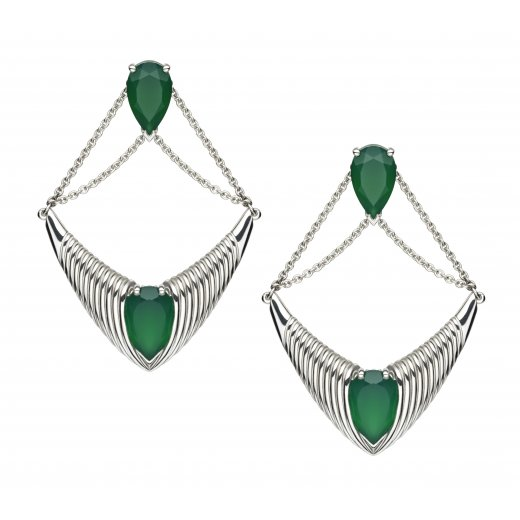 Shaun Leane Silver Bound chandelier earrings with Green Onyx