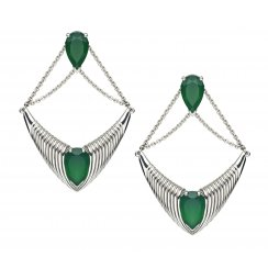 Silver Bound chandelier earrings with Green Onyx