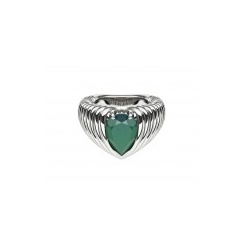 Silver Bound Ring with Pear Shaped Green Onyx