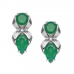 Silver Bound studs with Green Onyx
