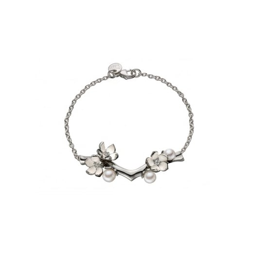 Shaun Leane Silver Branch Bracelet With Diamonds And Pearls