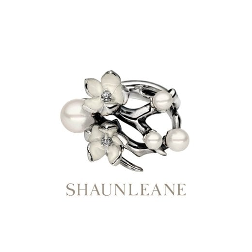 Shaun Leane Silver Cherry Blossom ring with Diamonds & White Pearls