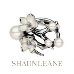 Silver Cherry Blossom ring with Diamonds & White Pearls