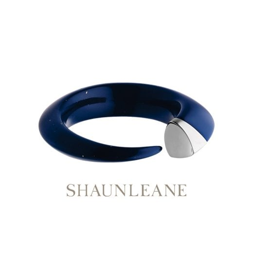 Shaun Leane Silver & dark Lapis blue resin Tusk Bangle - Small