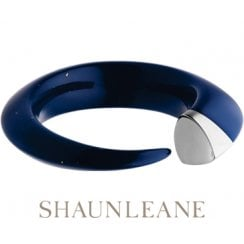 Silver & dark Lapis blue resin Tusk Bangle - Small