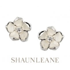 Silver & Diamond Cherry Blossom studs - Large