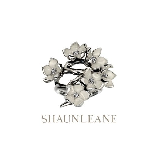 Shaun Leane Silver Full Cherry Blossom Ring with Diamonds & enamel