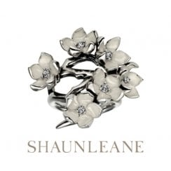 Silver Full Cherry Blossom Ring with Diamonds & enamel