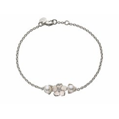 Silver Single Flower Bracelet with Diamond & Pearls