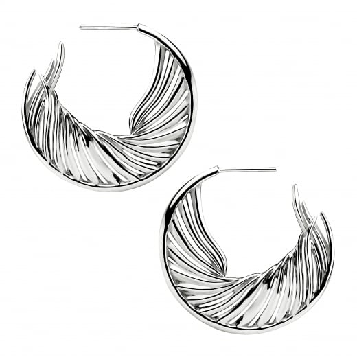 Shaun Leane Silver White Feather Hoop Earrings