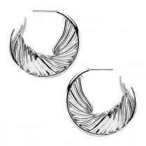 Silver White Feather Hoop Earrings