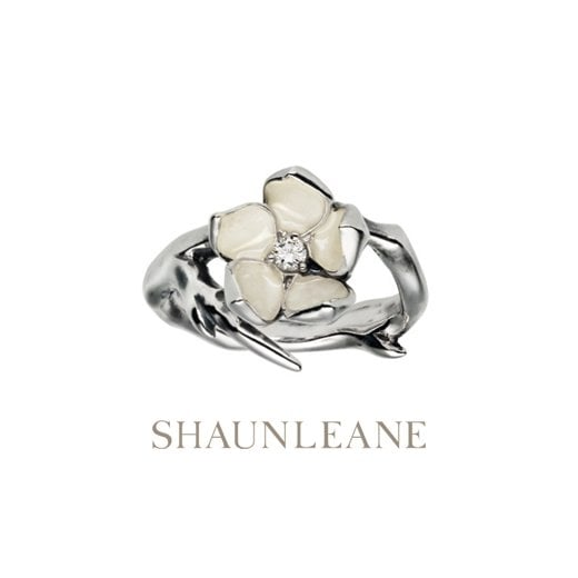 Shaun Leane Single Cherry Blossom silver & Diamond ring