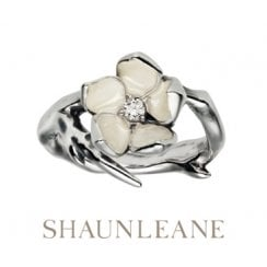 Single Cherry Blossom silver & Diamond ring