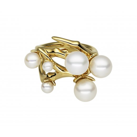 Shaun Leane Yellow Gold Cherry Blossom Pearl Bud Ring