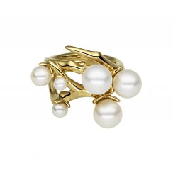 Yellow Gold Cherry Blossom Pearl Bud Ring