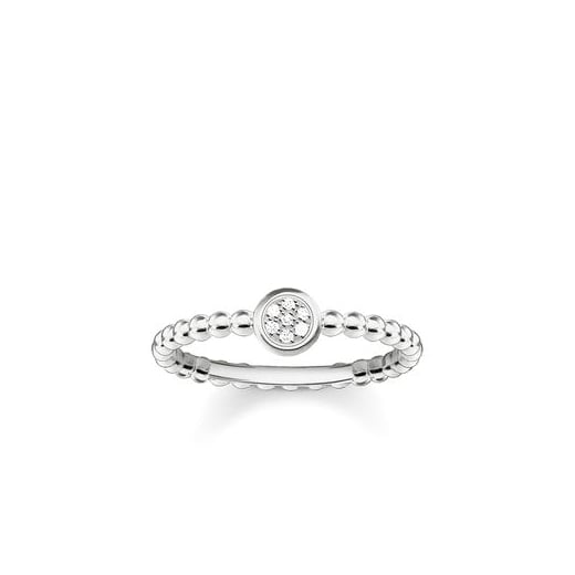 Thomas Sabo Silver & Diamond Pave Ring - Size 54