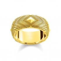 Africa Ornaments Yellow Gold Plated Sterling Silver Ring - Size 54