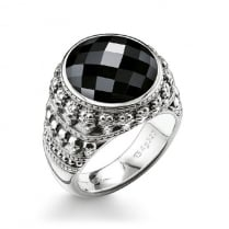 Black CZ Skull Sterling Silver Ring - Size 62