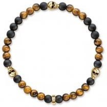 Black Obsidian & Brown Tiger's Eye Skull Bracelet - 17cm