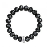 Black Obsidian Charm Club Bracelet (Medium)