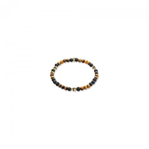 Thomas Sabo Black Obsidian, Tiger's Eye & Gold Skull Bead Bracelet -17cm