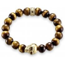 Brown Tiger's Eye Bead & Gold Skull Bracelet - 17cm