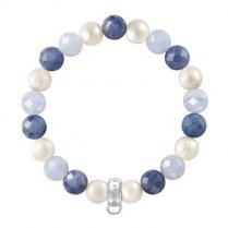 Charm Club Blue Stone & Pearl Bracelet (Medium)