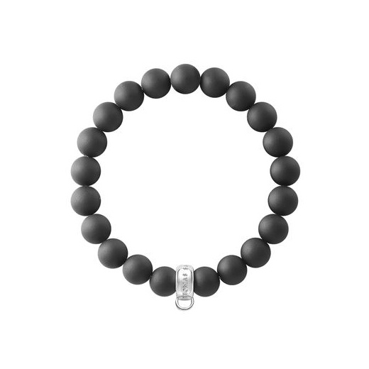 Thomas Sabo Charm Club Matt Obsidian Bead Bracelet (Large)