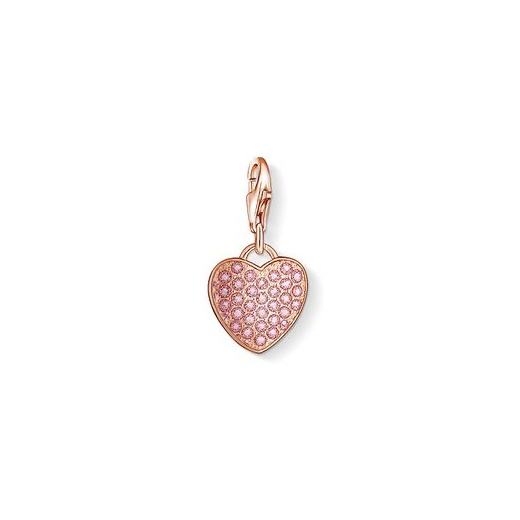 Thomas Sabo Charm Club Rose Gold Plated And Pink Pave Heart Charm