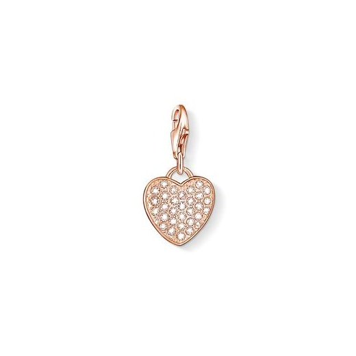 Thomas Sabo Charm Club Rose Gold Plated and White Pave Heart Charm