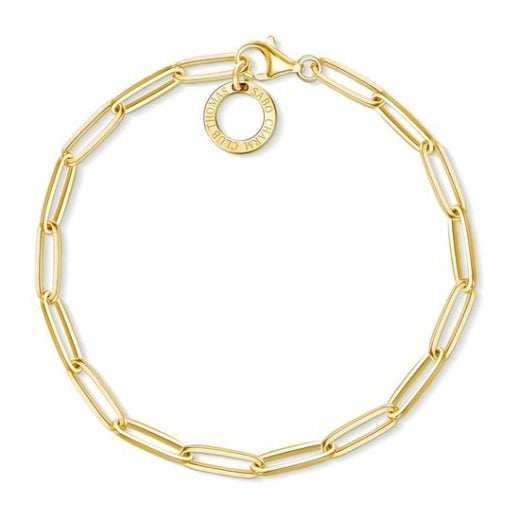 Thomas Sabo Charm Club Yellow Gold Paperclip Bracelet - 17cm