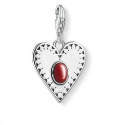 "Charm Pendant ""Heart Red Stone"""