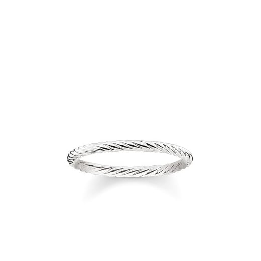 Thomas Sabo Delicate Cord Silver Stacking Ring - Size 54