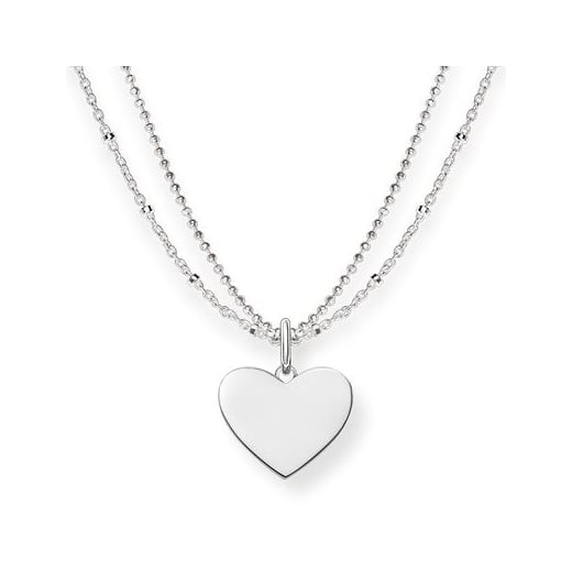 Thomas Sabo Double Chain Silver Heart Necklace