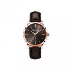 Gents Rebel at Heart Rose & Brown Strap Watch