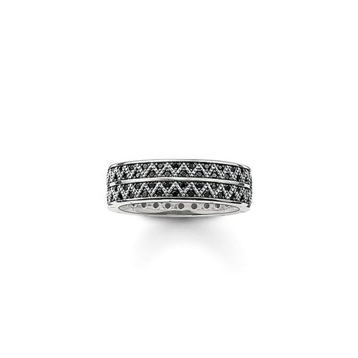 Thomas Sabo Gents Zigzag Black CZ Ring