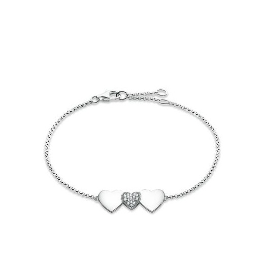 Thomas Sabo Glam And Soul Silver And White Zirconia-Pavé Heart Bracelet
