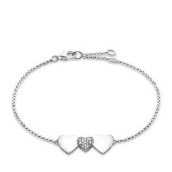 Glam And Soul Silver And White Zirconia-Pavé Heart Bracelet